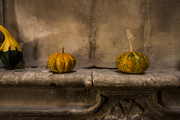 Gourds on a rustic mantel
