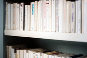 Shelves styled with white-spined books