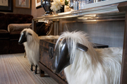 Two shaggy wool sheep sculptures beneath a lucite sideboard