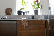 A silver kitchen with wooden cabinets and window plants.