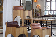 Wooden bar stools at Philadelphia's American Street Showroom