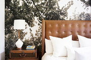 Nature-inspired wallpaper paired with a leather headboard and stacked luggage