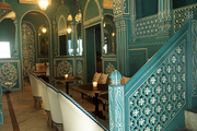 Traditional Indian motifs on stair rail and archways in Jaipur's Bar Palladio