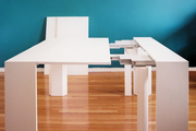 Resource Furniture's convertible white console/dining table