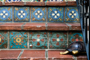 Beautiful ceramic tiles on the stairs.
