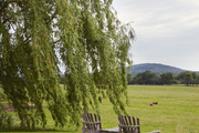 Adirondack chairs facing out into the countryside.