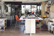 A converted workspace in a mid-century modern home.