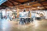 An open, industrial office space