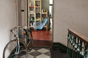 Parisian style hallway with bike.