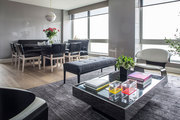 A contemporary living and dining space