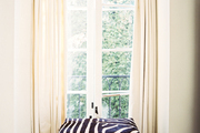 A zebra-covered ottoman in front of French doors with white curtains