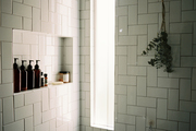 Classic subway tiled bathroom and shower.