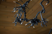 Tree-like chandelier hanging above dining room table.