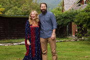 Jennifer and Nic Taylor in the yard of their Hudson Valley home