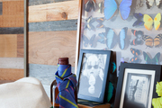 Framed photos and a collection of butterflies propped against wood-clad walls