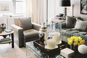 Coffee table styling with trays and accessories