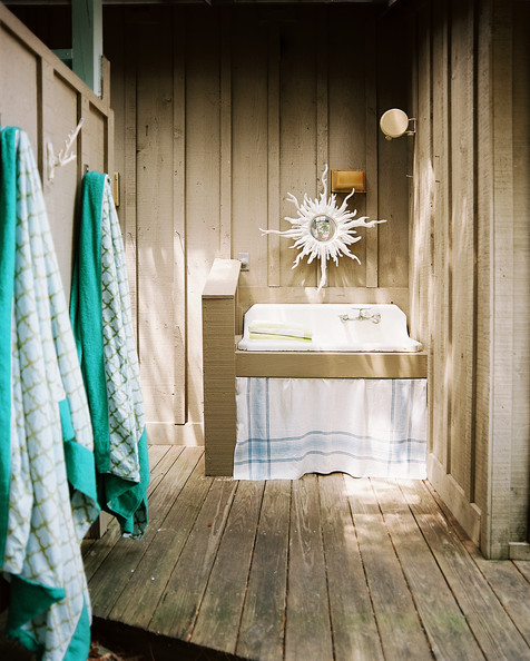Beach Rustic Bathroom An Outdoor Sink Details Brown Green Beach Rustic