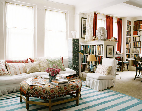 Bohemian Living Room An Octagonal Ottoman Paired With A White