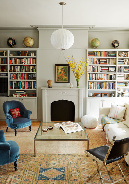 The living room of Jen Albano's townhouse in Brooklyn, New York.