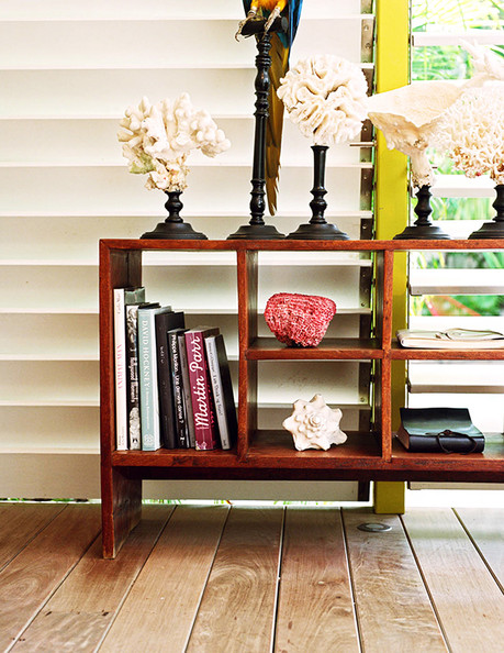 Bookshelf - A tropical vignette of corals and other beach collectibles at La Banane