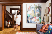 Mia Maestro standing in the living room of her Venice, California
