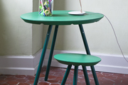 Modern green table and stool.