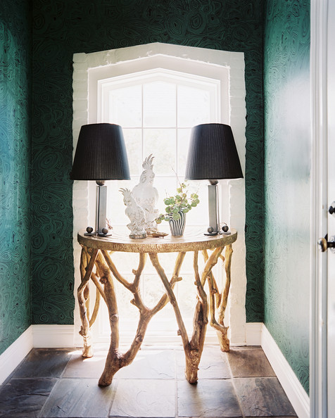 Driftwood Table - Malachite wallpaper in an entryway