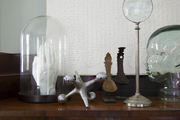 A mix of curious glass and iron items on a polished wood surface