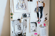 An inspiration board of images beside a blue tool kit