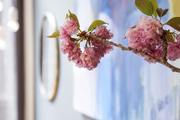 A detail of the cherry blossoms in a bedroom