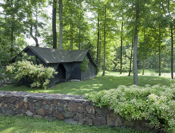 Outdoor shed in ct desk work for Landscaping ideas for wooded areas