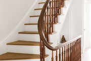 A brown and white staircase.