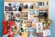 A bulletin board of inspirational images and photographs