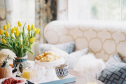 A wingback banquette in a breakfast nook