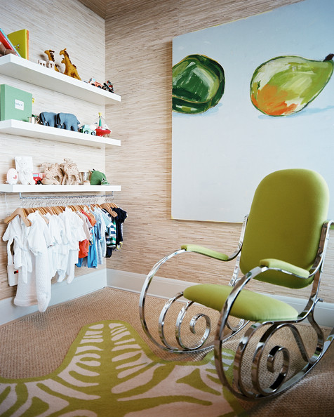 Kids' Room - A green rocking chair and zebra-print rug in a nursery
