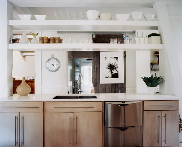 Kitchen Cabinets Exposed Shelving In An Open Kitchen