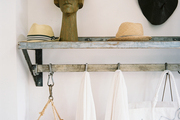 A storage space for hats and beach accessories