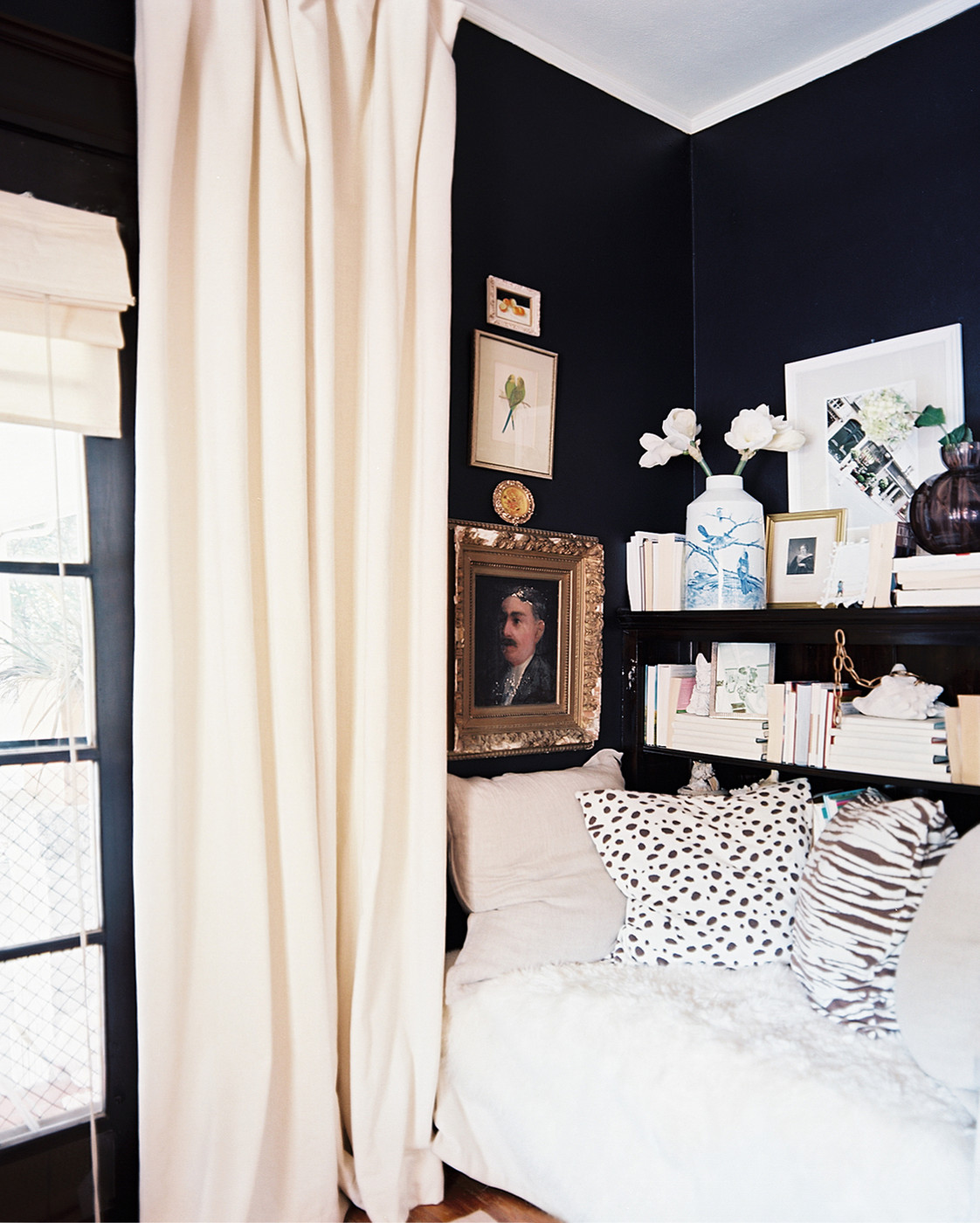 Yea or nay dark walls in a small space decorating lonny Dark curtains small room