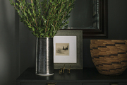 Small plant in vase atop dresser