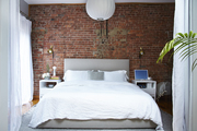 Here is the minimal bedroom of a Brooklyn apartment.