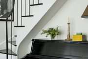 A black-and-white color palette on display in a small entryway