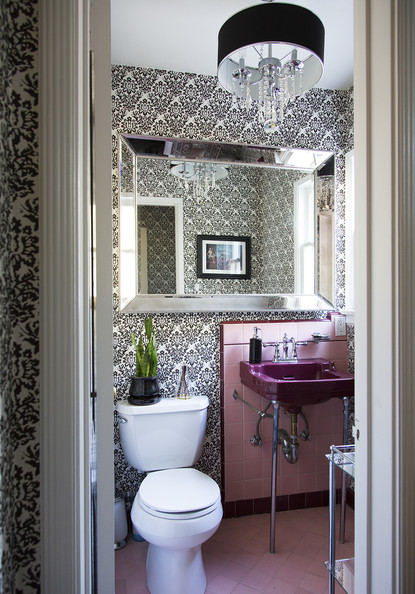 Pink tile photos design ideas remodel and decor lonny for Pink black bathroom ideas