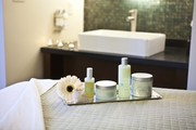Eco-friendly products on a massage table at Napa Valley's Bardessono hotel