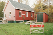 Apples Shop, housed in a red barn in Dark Harbor, Maine