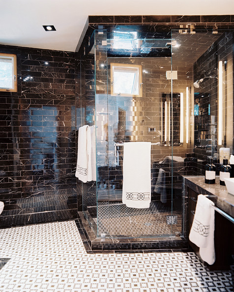Elegant Image Credit Hannah Crowell This Bathroom By Hannah Crowell Via One Kings Lane On Instagram Features Both Black And White Marble Using Tiles, Instead Of Whole Slab Of Marble, Is A More Economical Choice, And The Chevron Pattern