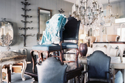 Furniture and chandeliers in an antiques shop