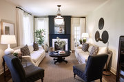 A traditional living room with neutral accents.