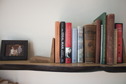 A row of books on a wooden shelf