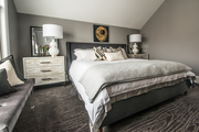 Transitional contemporary gray bedroom.