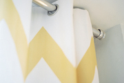 Chevron curtains with a silver rod